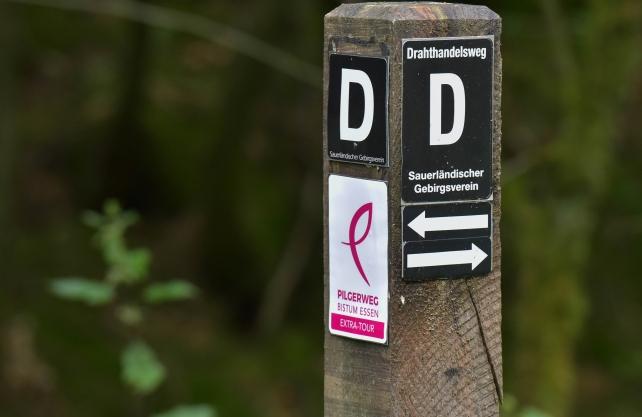 """Magentafarbene Symbole weisen den Weg auf der """"Extra-Tour"""". Foto: Guido Raith, Bistum Essen"""
