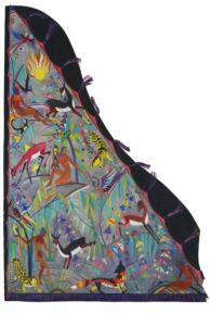 Zu sehen in Arnsberg: Fifi Kreutzers Entwurf zu Flügeldecke, o. J., Gouache und Goldfarbe mit Graphit-Vorzeichnung auf Fotokarton, 143 x 100 cm | Privatbesitz. Foto: Atelier Strube, München | © Erben Kreutzer