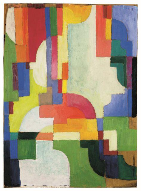 """Das Werk """"Farbige Formen I"""" von August Macke ist eines der Hauptwerke des westfälischen Künstlers im LWL-Museum für Kunst und Kultur und wurde jetzt mit öffentlichen Geldern angekauft. Foto: LWL/Sabine Ahlbrand-Dornseif"""