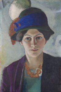 August Macke, Frau des Künstlers mit Hut, 1909, LWL Museum für Kunst und Kultur. Foto: LWL/Neander