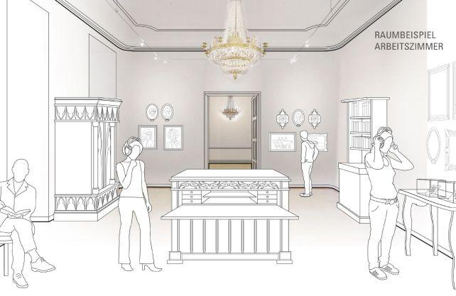 In den neu gestalteten Räumlichkeiten sollen Besucher das Gefühl haben, die Schlossbewohner hätten die Räume nur kurz verlassen. Grafik: Space 4