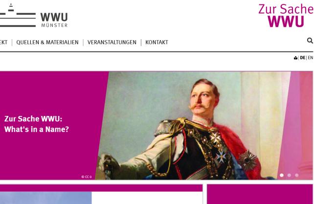 """Auf der Internetseite """"Zur Sache WWU"""" informiert die Universität über die Namensdebatte. Copyright: WWU - CC0"""