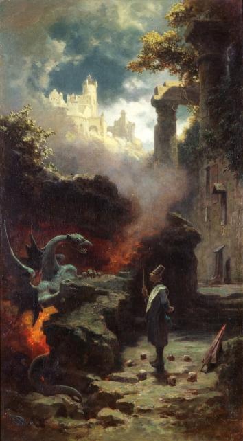 """Das Gemälde """"Der Hexenmeister"""" von Carl Spitzweg."""