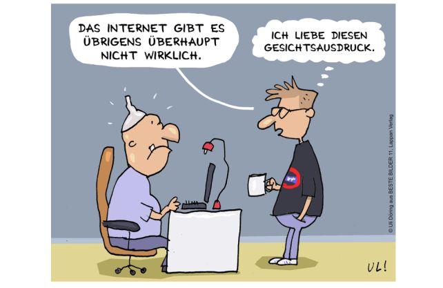 Den ersten Platz belegte Uli Döring. Cartoon: (c) Uli Döring, Beste Bilder 11, Lappan Verlag