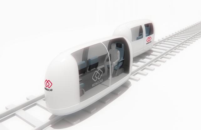 An der TH OWL wird ein neuartiges Ein-Schienen-Fahrzeug entwickelt, das MonoCab. Grafik: TwoWest