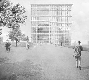So könnte die neue Bibliothek der TU Dortmund aussehen. Grafik: TU Dortmund