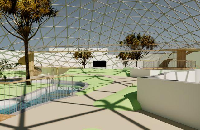So soll die neue Tropenhalle im Allwetterzoo Münster einmal von innen aussehen. Grafik: Allwetterzoo