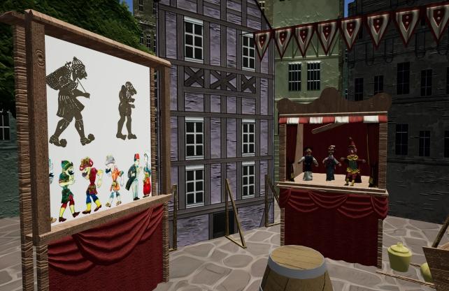 Der zweite Raum der Schau zeigt einen Ein Marktplatz mit historische sowie aktuelle Kasperfiguren aus verschiedenen Ländern. Foto: Deutsche Forum für Figurentheater und Puppenspielkunst