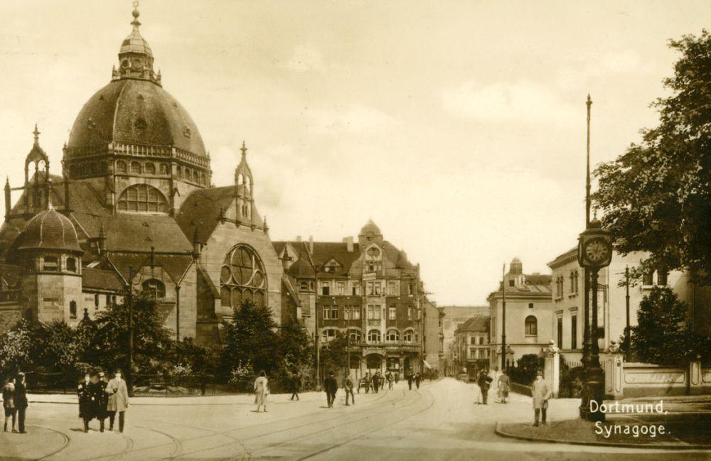 Dortmunder Synagoge mit Hansastraße im Jahr 1926. Foto: Stadtarchiv Dortmund