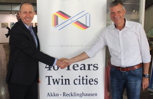 Den Recklinghäuser Oberbürgermeister Christoph Tesche verbindet eine enge Freundschaft mit seinem Amtskollegen Shimon Lanjri aus Akko. Foto: Stadt Recklinghausen
