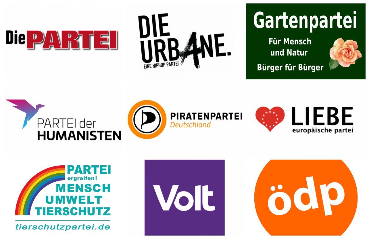 Die Logos einiger kleiner Parteien. Collage: wsp