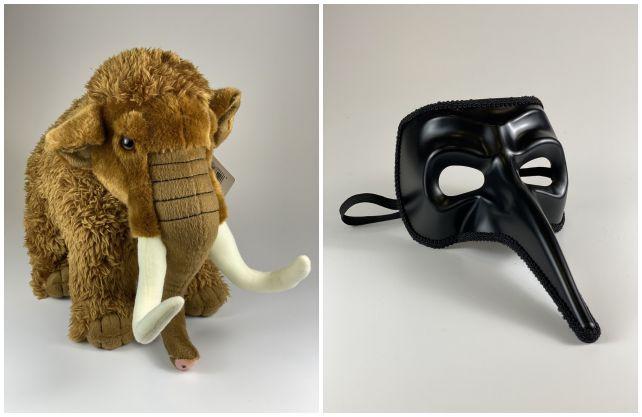 """Das Archäologiemuseum des LWL versteigert im Advent unter anderem ein Stoffmammut und eine """"Pest-Maske"""". Fotos: LWL"""
